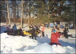 Snow Mobilers taking a break.